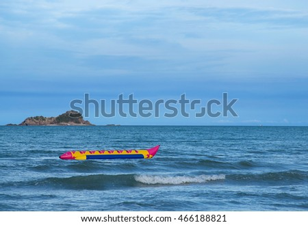 Banana boat in sea and blue sky. Thai Sport outdoor
