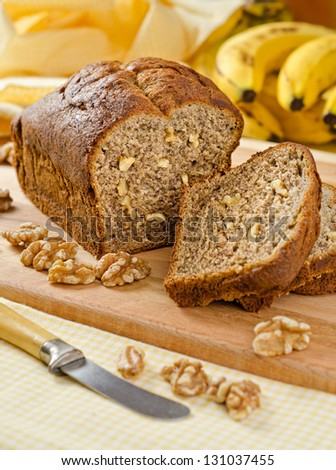 Banana Bread Nut Loaf - stock photo