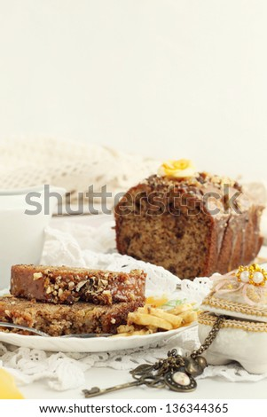 Banana, caramel and nuts bread - stock photo