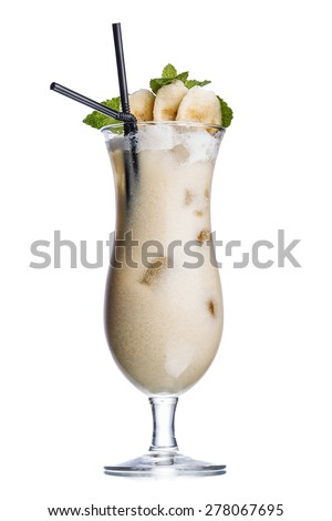 Banana colada alcoholic cocktail decorated with banana slice and two black straws