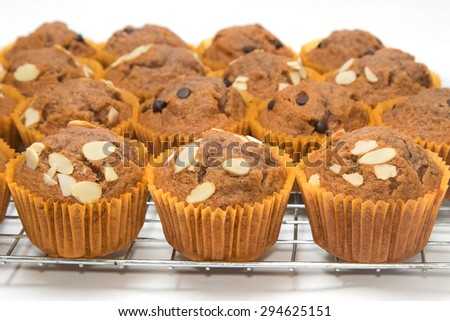 banana cup cake on the baking - stock photo