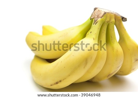 Banana from the rear side with depth of field. natural shadow. Isolated on pure white.