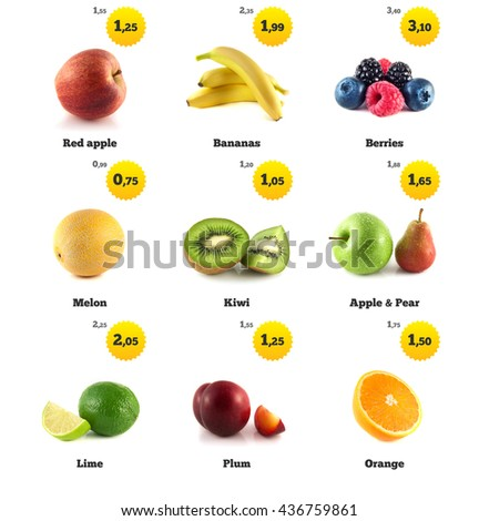 Banana, green apple and lime. Kiwi, berries and pear. Melon galia, yellow plum and orange isolated. Fresh natural orange. Health organic orange. Food with price tags on white. Fresh tasty orange. - stock photo