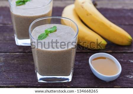Banana, honey, maca powder and chia seed smoothie - stock photo