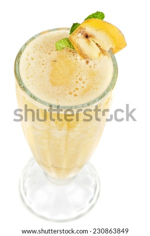 banana ice cocktail on a white - stock photo