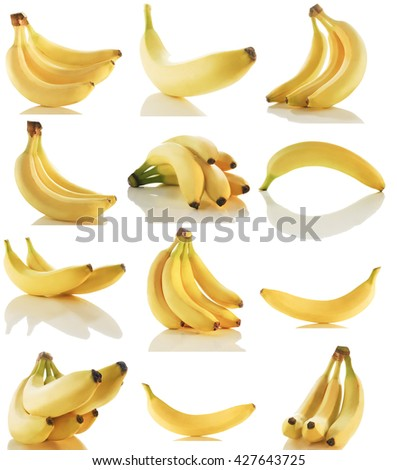 BANANA IN VARIOUS STYLES AND PERSPECTIVES  - stock photo