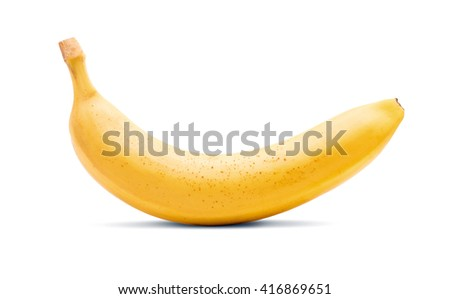 Banana isolated on white - stock photo