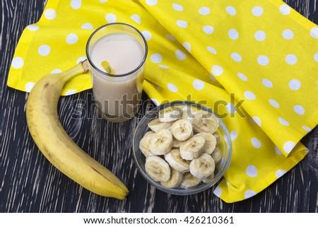 Banana juice with bananas - stock photo