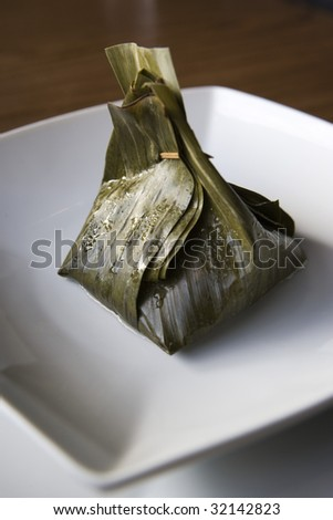 Banana Leaf Chicken Tamale - stock photo