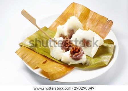 Banana leaf to packaging thai dessert style (Unpacked) - stock photo