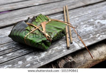 Banana Leaf Wrapped Rice Banana Leaf Wrapped