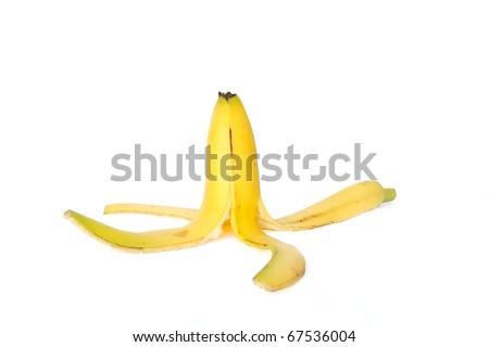 banana peel isolated on white - stock photo