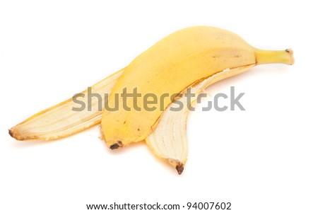 Banana peel - isolated on white - stock photo