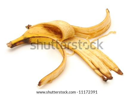 banana peel , isolated on white background - stock photo