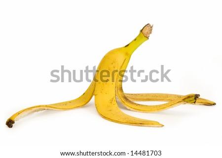 Banana peel on a white background - stock photo