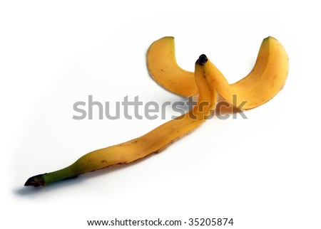 Banana peel. Yellow peel fruit isolated on white background