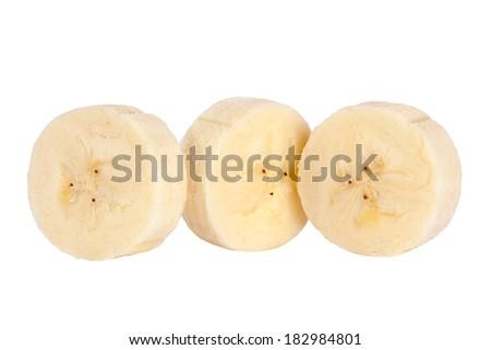Banana round slice closeup isolated on white background - stock photo