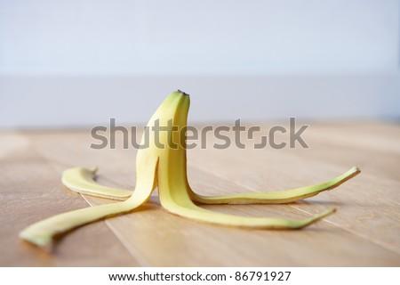 Banana skin on floor - stock photo