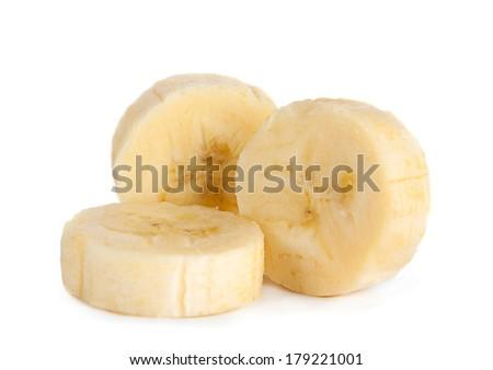 Banana slice closeup isolated on white background - stock photo