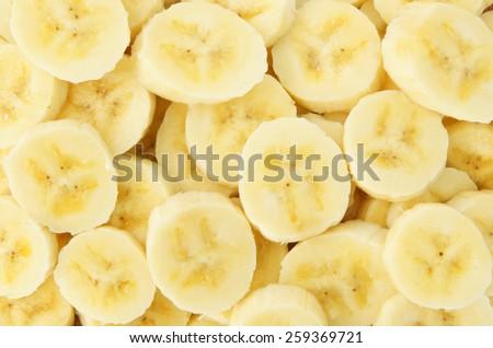 Banana slices background - stock photo