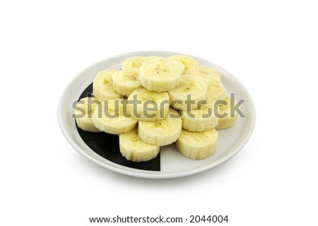 Banana slices. Clipping path included. - stock photo