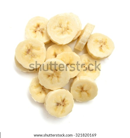 Banana slices isolated on a white - stock photo