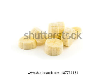 Banana slices isolated on a white background. - stock photo