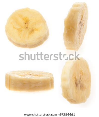 banana slices isolated on a white background - stock photo