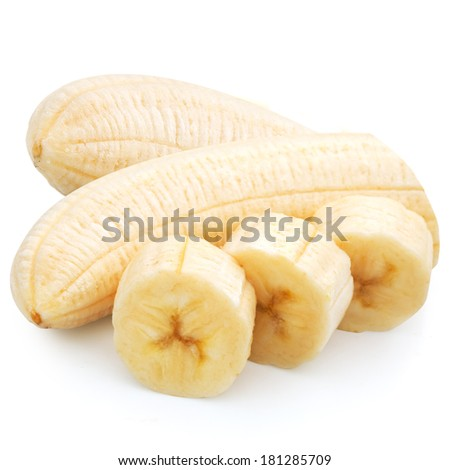 Banana slices isolated on a white background. Clipping Path  - stock photo