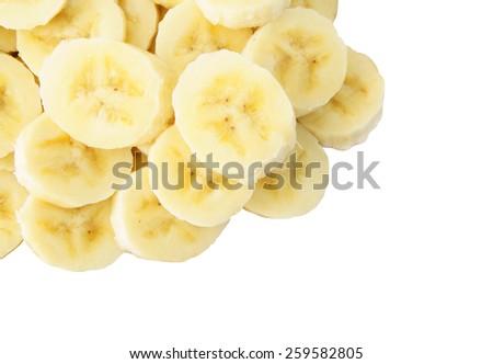 Banana slices isolated on white background - stock photo