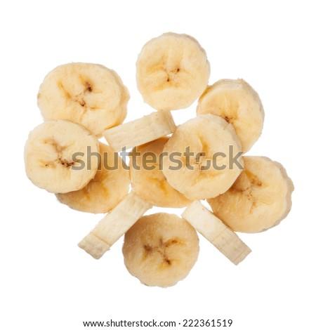 Banana slices isolated on white background, close up - stock photo