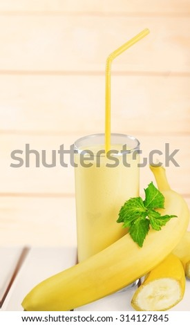 Banana smoothie. - stock photo