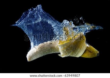 Banana splashing - stock photo