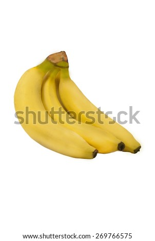 Banana with banana chips isolated over white background - stock photo