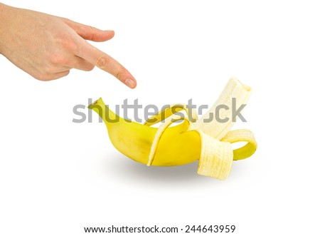 bananas  and hand on white background