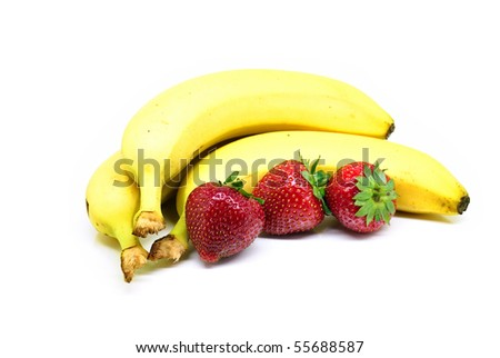Bananas and strawberries isolated on white background - stock photo