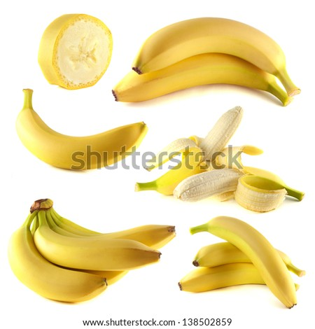 Bananas collection isolated on white background (set). - stock photo