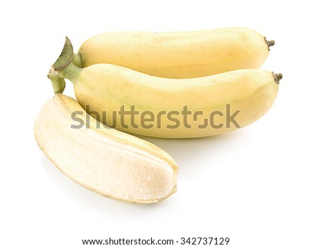 Bananas, Cultivated Banana, Thai cultivated banana, Thai bananas on on white background. - stock photo