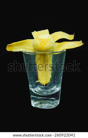 bananas in the glass Black background - stock photo