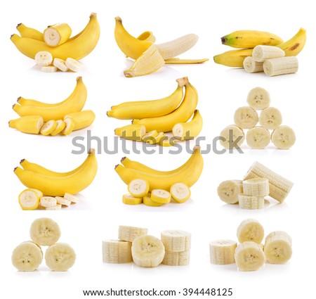 bananas on white background - stock photo