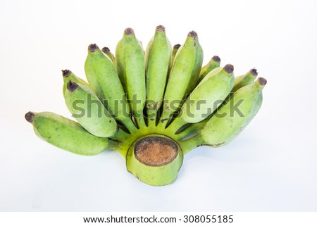 Bananas,Thai cultivated banana, Thai bananas on on white background. - stock photo