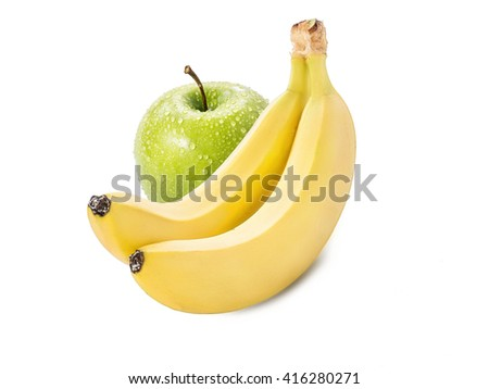 Bananas with green apple isolated on white background - stock photo