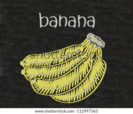 bananas written on blackboard background high resolution - stock photo