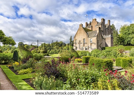 Banchory, United Kingdom - August 18, 2014: View of 16th-century Crathes Castle. The castle and grounds are presently owned and managed by the National Trust for Scotland and are open to the public