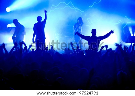 Band Blue Silhouette Crowd - stock photo