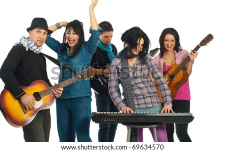 Band of five musicians singing with instruments isolated on white background - stock photo