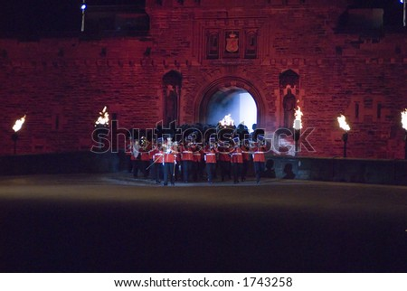 Band of the Scots Guards march out at Edinburgh Military Tattoo 2006 - stock photo