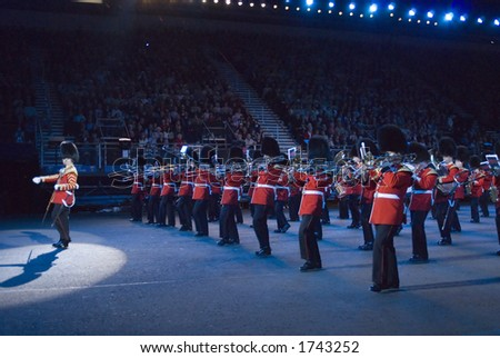 Band of the Scots Guards on parade at Edinburh Military Tattoo - stock photo