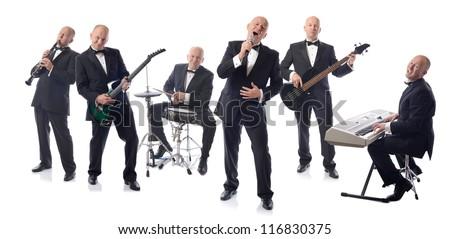 Band playing isolated on white - stock photo