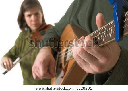 band playing violon and guitare over white background - stock photo